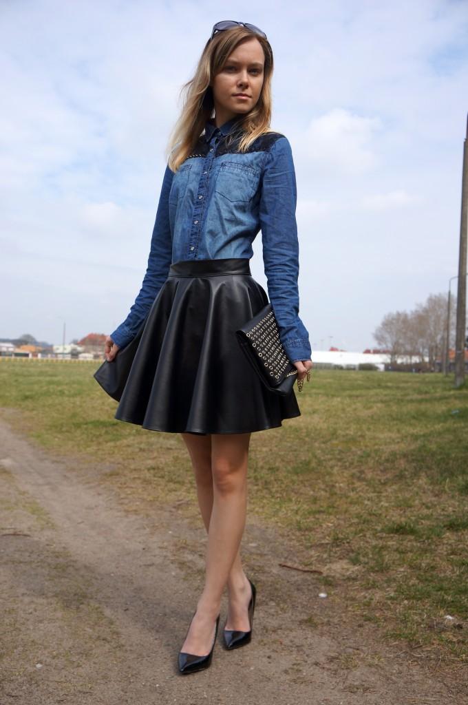 Black Skirt Amp Jeans Shirt